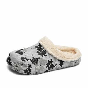 Men's Mules Cotton Slippers Slip On Thick Bottom Keep Warm Plush Shoes Non-slip