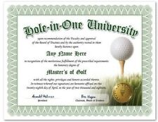 Hole In One University Personalized Golfer Diploma - Gift Novelty Golf Ball Tee