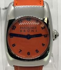 Pasquale Bruni Automatic S' Steel Watch Orange Dial & Strap 29mm w/ Box Papers