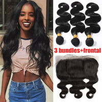 3 Bundles With Lace Frontal Closure Pre Plucked Brazilian Virgin Human Hair T939