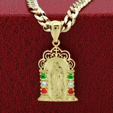 "Mens 14k Gold Plated Brass Mexican Color Guadalupe Pendant 6mm 24"" Cuban Chain"
