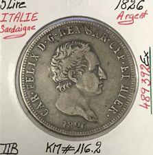 ITALIE - 5 LIRE 1826 - SARDAIGNE - Pièce de Monnaie en Argent // TTB
