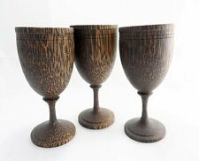 Lot of 3 Wooden Wine Glasses Hand Craft Carved Palm Wood Gift for Special Other