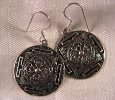 Tibetan Buddhism Double Dorje Mandala Silver Earrings India