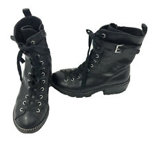 Kendall + Kylie Women's KK Prime Combat Boots Black Leather Lace Up Zip 6.5M US