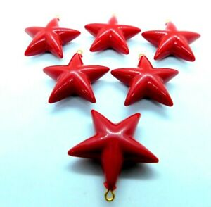 JUMBO 35mm Large Faceted Hanging Stars with Hook Red  #RE01