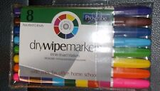 PREMIER 8 X  ASSORTED COLOUR FINE WHITEBOARD / ERASABLE DRY WIPE MARKER PENS