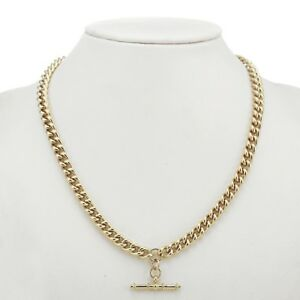 18K Yellow Gold GL Womens / Mens Solid Medium Euro Curb Necklace & Antique T-Bar