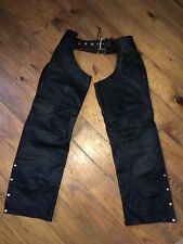 Hot Leathers Motorcycle Black Chaps Size Medium Buttons And Zipper Leg Worn Once
