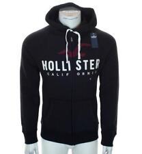 New Men's Hollister Full Zip Hoodie Fleece Lined Embroidered Sweatshirt Black