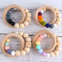 Natural Wooden Ring Silicone Beads Baby Teething Sensory Bracelets Teether Toys