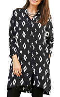 UK Sizes 8-22, EU 34-48 Ladies Black White Diamond Long Length Blouse Tunic Top