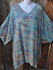 """ART TO WEAR 210 LAGENLOOK TUNIC IN ALL NEW AZURE BY MISSION CANYON, 56""""B, OS+!"""