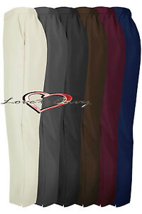 Ladies 25inch Tapered Leg Trousers Half Elastic Waist With Pockets In UK10-24.
