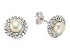 Pearl Earrings Freshwater Cultured Cluster Platinum Plated Solid Sterling Silver