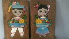 "Mexico 16"" X 10"" carved wood folk art boy & girl with fruit baskets wall hanging"