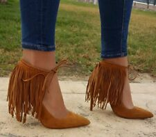 ZARA Whiskey Brown Fringed Leather Suede High Heel Shoes 38 5 BNWT REF: 2232 101