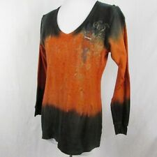 Harley Davidson Dip Dye Orange Black Thermal Top Size Small V Neck Women Georgia