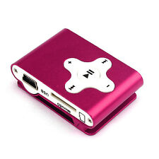 32GB Support Mini Clip Metal USB MP3 Player Micro SD TF Card Music Media Pink