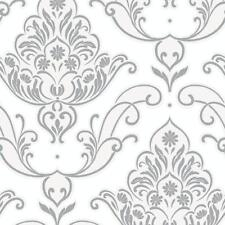 Rasch - Gatsby Damask & Floral Motif - Charcoal & White Glitter Wallpaper 319620