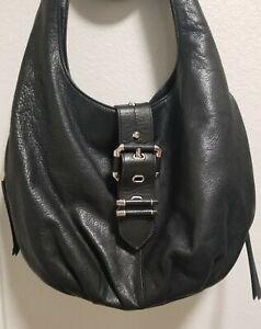 B Makowsky Black Leather Shoulder Handbag