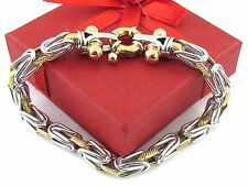 "18K Yellow And White Gold Byzantine Rolo Link Toggle Bracelet 7 1/2"" 18.40 grams"