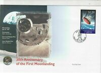 st kitts 30th anniversary moon landing stamps cover 1999 ref 19478