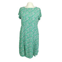 White Stuff Green Floral Chiffon Casual Everyday Fit & Flare Dress Size 14
