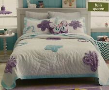 New! Circo FULL Quilt Shams Flutter Collection White Purple Aqua Butterflies