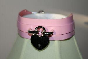 Creepyyeha Creepy yeha genuine pink vinyl removable silver heart charm choker