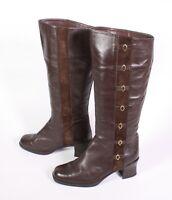 16S Damen Stiefel Boots Leder braun Gr. 37 Blockabsatz Vintage Boho Schnallen