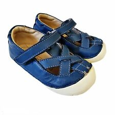 Old Soles Baby Toddler Girls Shoes Blue Genuine Leather Rubber Bottom Criss...