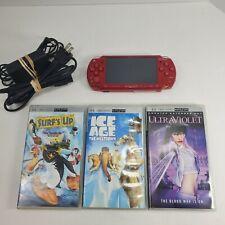 Limited Edition Red God of War Sony PSP 2001 w/ 1GB SD Card, 3 Movies, New Batt