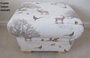 Storage Footstool Fryetts Tatton Woodland Animals Fabric Pouffe Natural Fox Deer