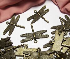 LOT OF 30 VINTAGE STYLE BRONZE METAL DRAGONFLY CHARMS-FINDINGS-JEWELRY MAKING
