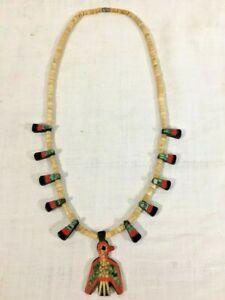 "Santo Domingo Pueblo Indian Thunderbird Depression Era 26"" Necklace 1930s-1950s"