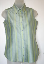 THE WORKS SAKS FIFTH AVENUE UK6 PETITE EU34P US2P BLUE/GREEN SILK BLOUSE