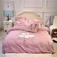 Luxury Velvet Flannel Cartoon Rabbit Bedding Set Fleece Duvet Cover Bed Sheet