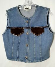 Denim Vest Womens M Medium Leather Faux Alligator Trim Blue X & R Jeans