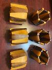 6 Mid Century Modern Wood Napkin Rings Holders MCM Teak? Two Color