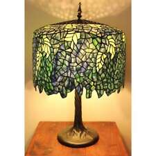 "Blue Wisteria Tiffany Style Table Lamp/w Tree Trunk Base Handcrafted 18"" Shade"