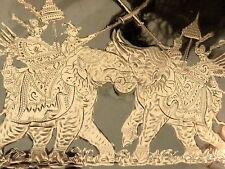 Old Vintage large sterling silver 190 gram two Elephants Warrior cigarette case