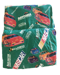 Vintage BIBB Company Green Flannel Nascar Twin Size Sheet Set Fitted And Flat