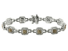 2.50ctw Round Champagne and White Diamond 10k White Gold Bracelet