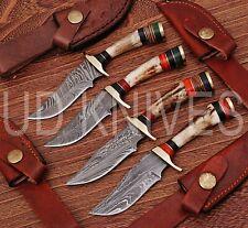 """LOT OF 4   6""""CUSTOM HANDMADE 1095 DAMASCUS STEEL HUNTING KNIFE  STAG ANTLER 9799"""