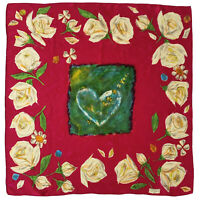 CHRISTIAN LACROIX FLORAL HEART  RED LARGE Silk Scarf 35/34 INCHES MADE IN ITALY