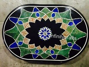 Semi Precious Stones Inlaid Coffee Table Top Marble Sofa Table 24 x 36 Inches