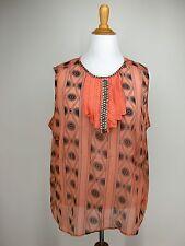 1X 20W JESSICA LONDON Blouse Orange Black Geometric Art Deco Retro Sheer Jeweled