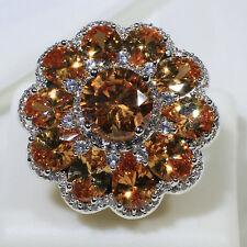 18K White Gold Filled Orange Crystal Women Fashion Cocktail Ring R7122 Size 7