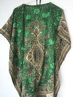 PETITE GREEN One Size THIN KAFTAN Beach Coverup Emerald DRESS lightweight